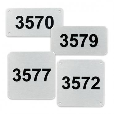 Metalen nummerlabels van aluminium, in diverse formaten en uitvoeringen